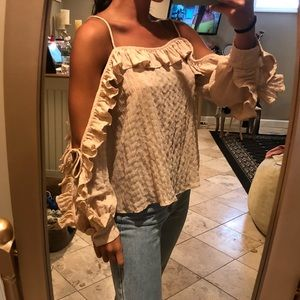 Cold Shoulder Cut Out Long Sleeve Ruffle Blouse